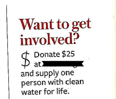 """""""$25 will give a person water""""…for a littlewhile"""