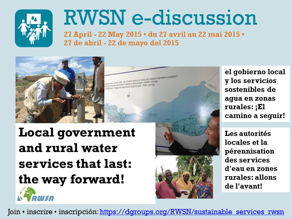 E-DISCUSSION ANNOUNCEMENT: Local government and rural waterservices