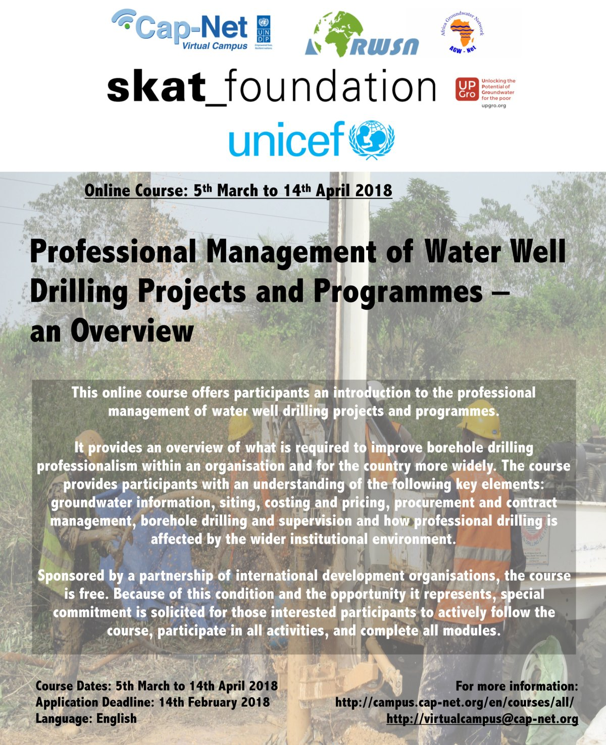 New Online Course –  Professional Management of Water Well Drilling Projects and Programmes