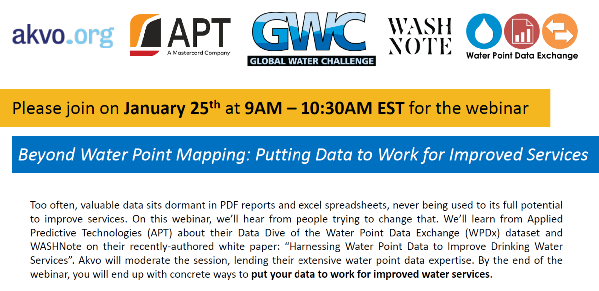 WPDx webinar: Beyond Water Point Mapping: Putting Data to Work for Improved Services